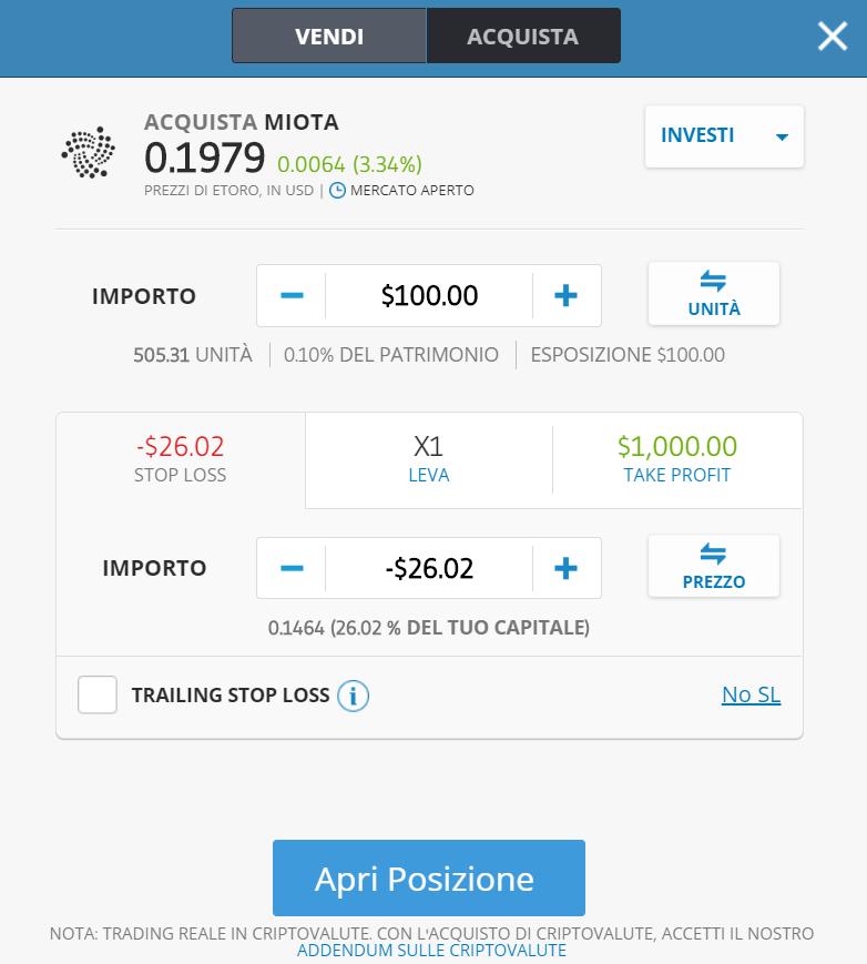 La finestra dell'ordine di acquisto di Iota su eToro