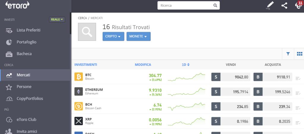 Bitcoin tra le cripto disponibili per l'acquisto su eToro
