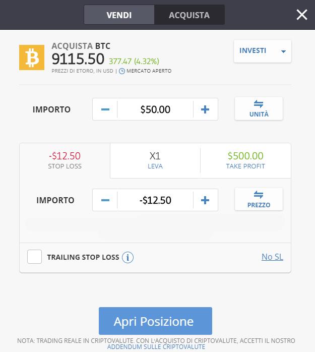 Finestra ordine acquisto bitcoin con paypal su eToro