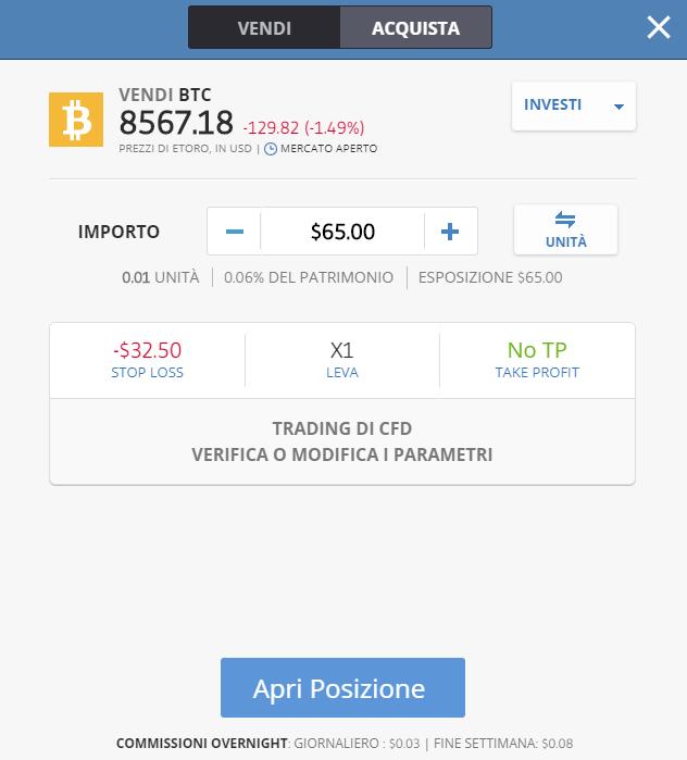Quando si clicca su vendi bitcoin si passa in automatico ai CFD