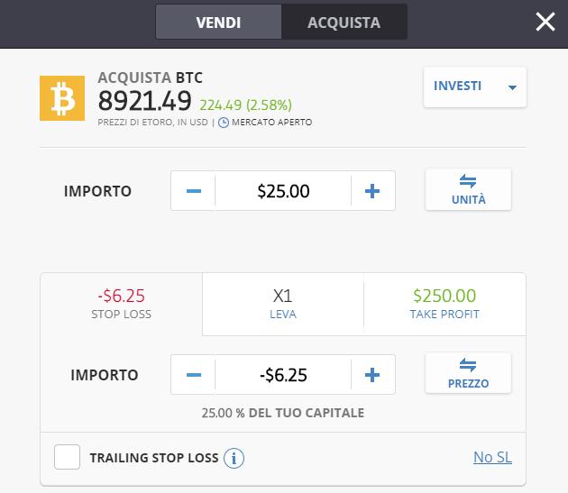 Come impostare lo stop loss quando si comprano bitcoin