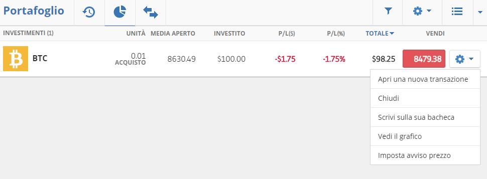 Come vendere bitcoin sulla piattaforma di trading eToro