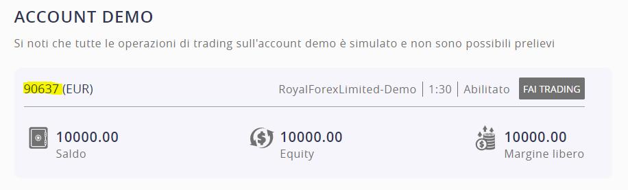 il numero del conto demo su ROInvesting
