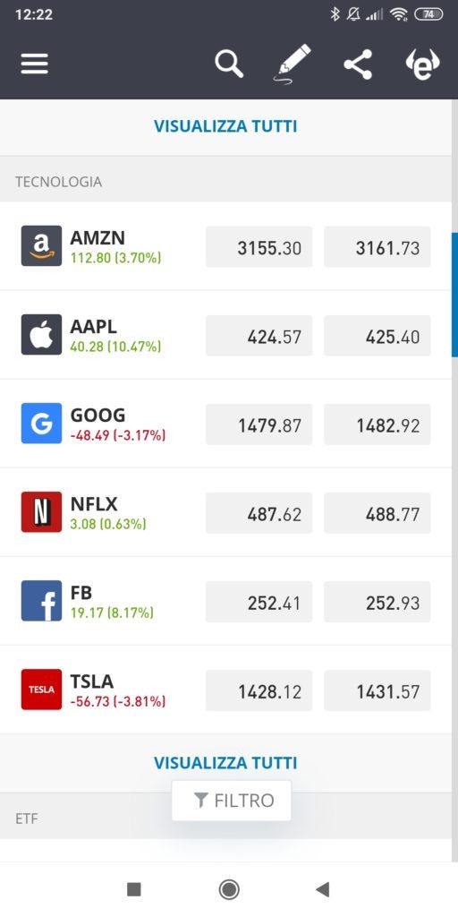 App eToro per il trading da mobile