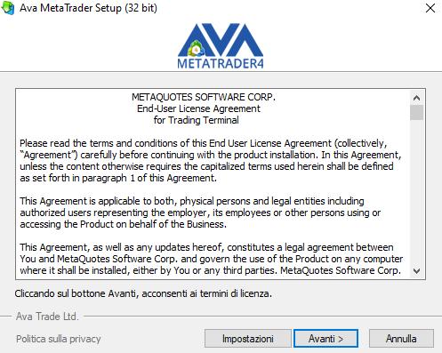 La finestra d'installazione di MetaTrader 4 di Ava