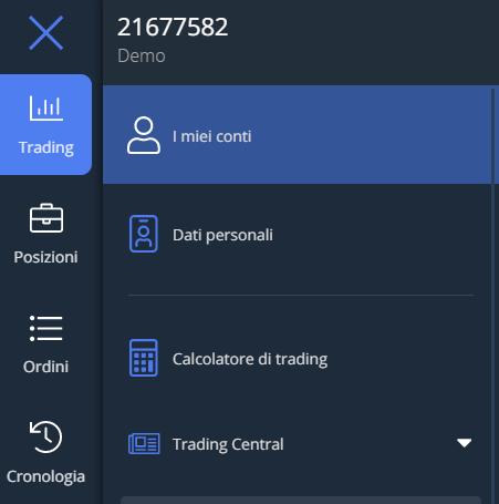 Seleziona i miei conti per visualizzare i conti disponibili