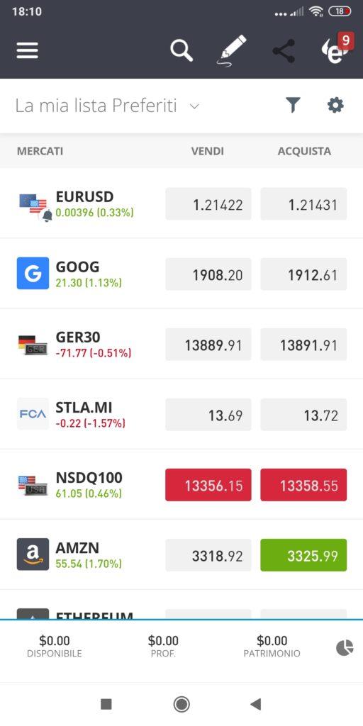 La lista dei preferiti della app di eToro