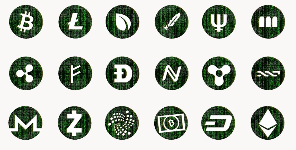 I loghi di alcune delle principali criptovalute