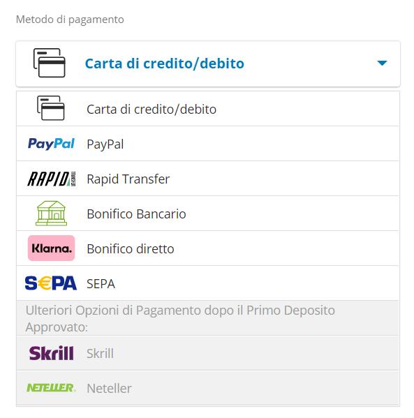 I metodi di pagamento accettati da eToro