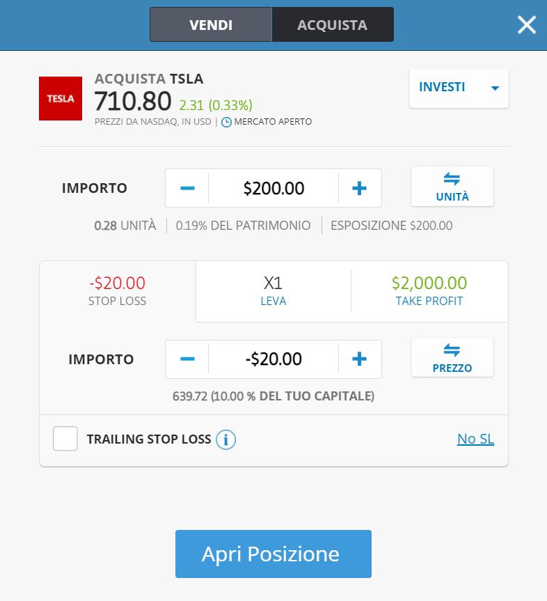 La finestra dell'ordine di acquisto per comprare le azioni Tesla online