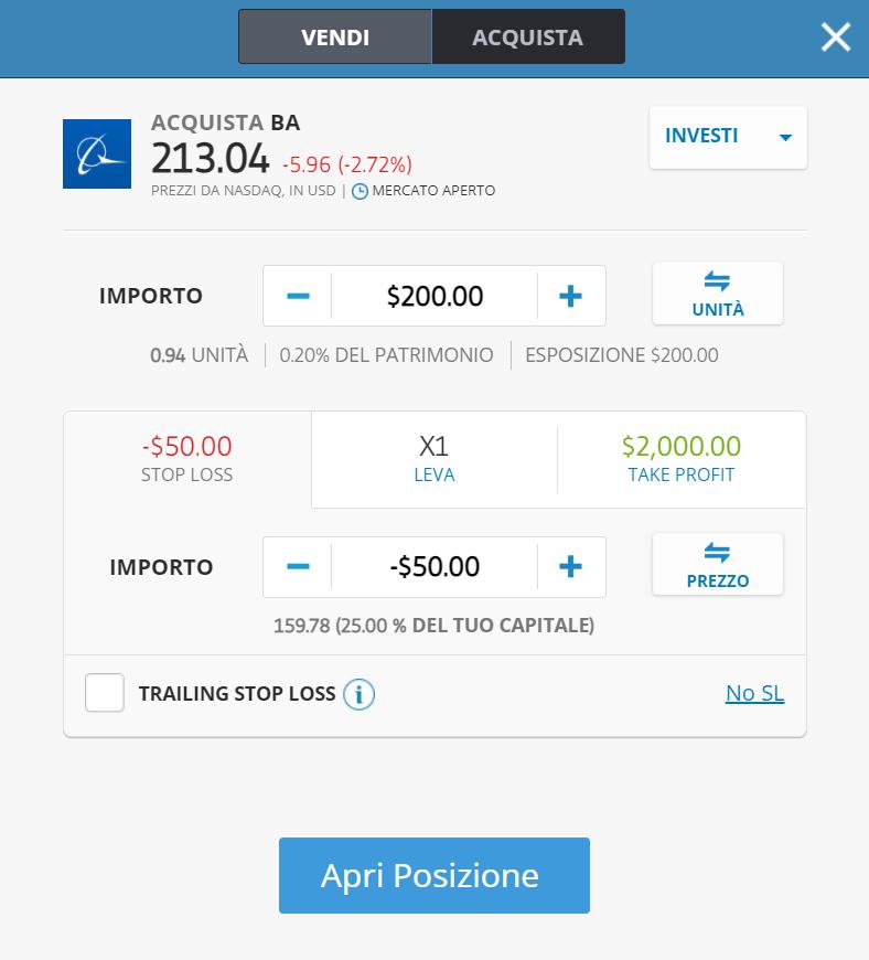 La finestra dell'ordine per comprare azioni Boeing su eToro