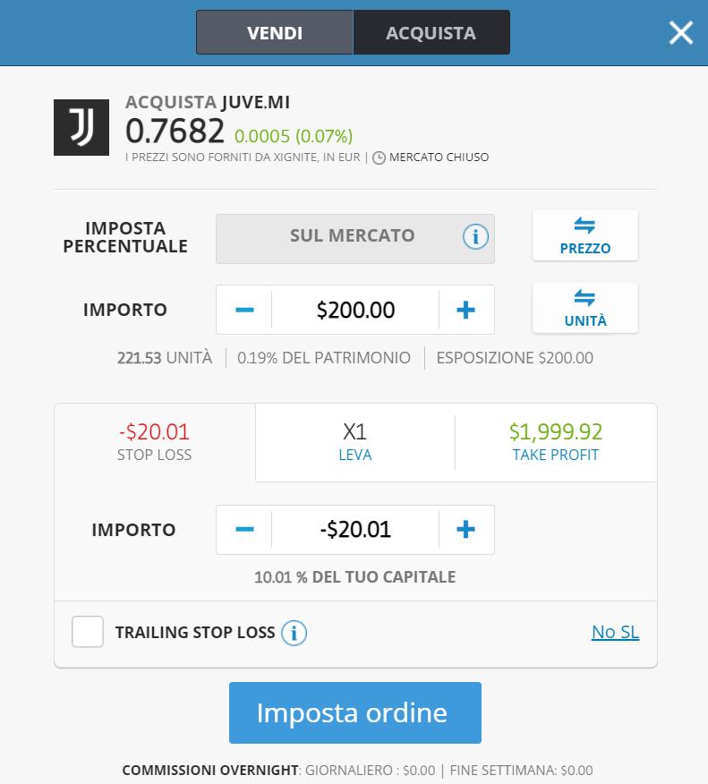La finestra dell'ordine di acquisto per comprare le azioni Juventus