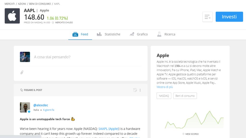 La pagina informativa per comprare le azioni Apple online