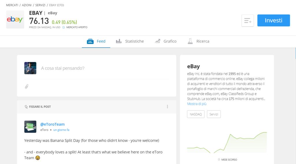 Pagina informativa delle azioni eBay