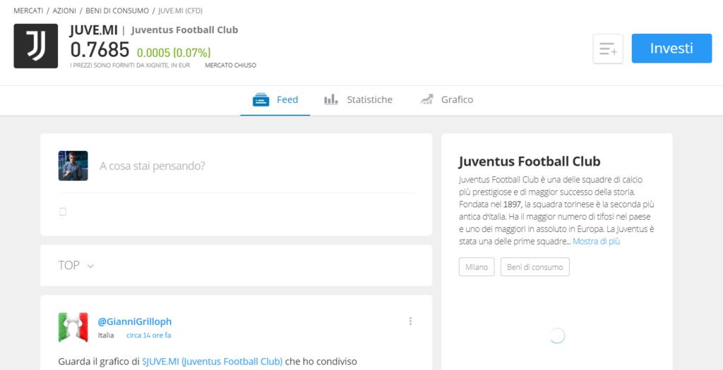 La pagina informativa delle azioni Juventus