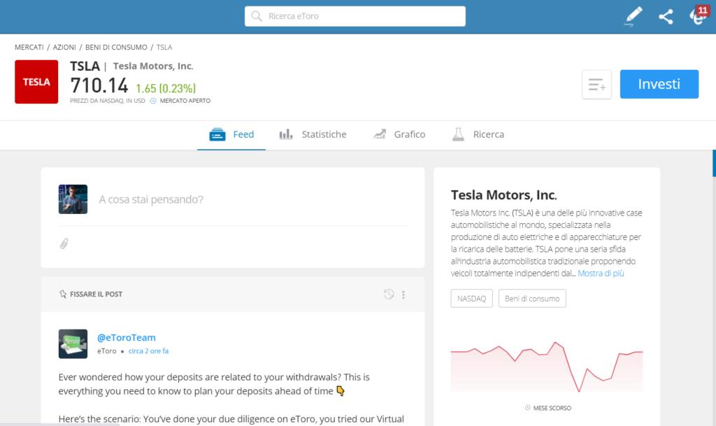 La pagina informativa per l'acquisto delle azioni Tesla