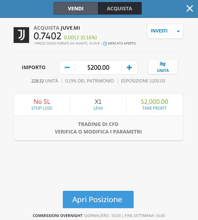 La finestra dell'ordine di acquisto di azioni italiane su etoro