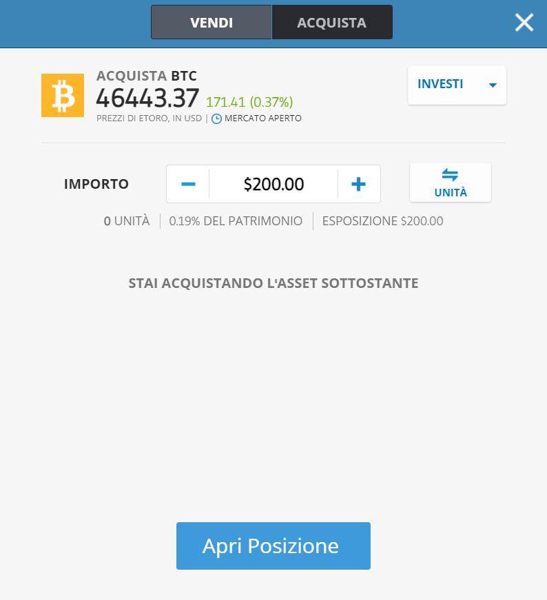 La finestra dell'ordine di acquisto del bitcoin su eToro