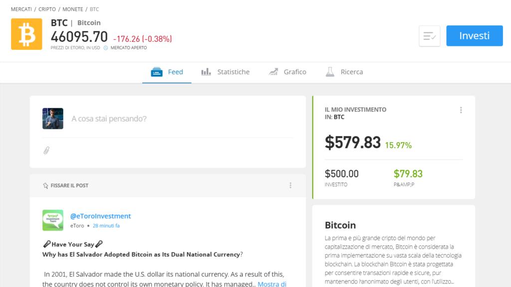 La pagina informativa del bitcoin su eToro